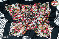 Павлопосадская чёрная шаль Вальс цветов