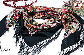 Чёрная павлопосадская чёрная шаль Вальс цветов, фото 3