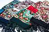 Чёрная павлопосадская чёрная шаль Вальс цветов, фото 2