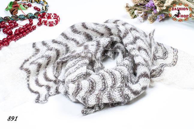Пуховый палантин-паутинка Волна , фото 2