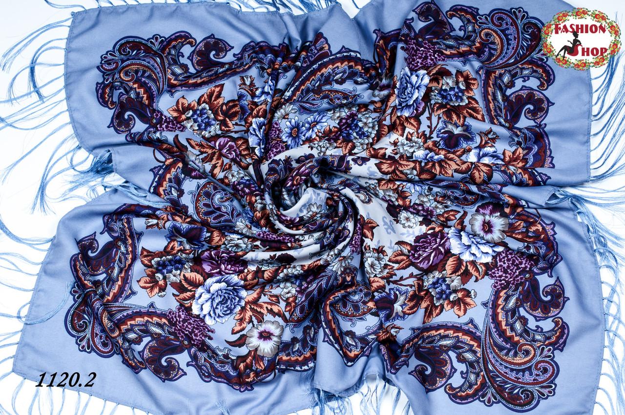 Сиреневый павлопосадский шерстяной платок Даниэлла