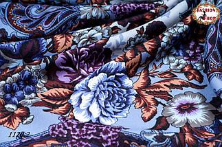 Сиреневый павлопосадский шерстяной платок Даниэлла, фото 2