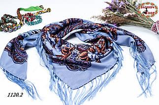 Сиреневый павлопосадский шерстяной платок Даниэлла, фото 3