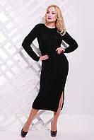 Теплое женское черное платье LOLO FashionUp 42-48 размеры