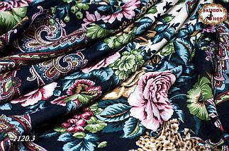 Тёмно-синий павлопосадский шерстяной платок Даниэлла, фото 2