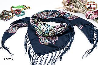 Тёмно-синий павлопосадский шерстяной платок Даниэлла, фото 3