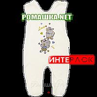 Ползунки высокие с застежкой на плечах р. 56 демисезонные ткань ИНТЕРЛОК 100% хлопок ТМ Алекс 3143 Бежевый А
