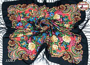 Чёрный павлопосадский шерстяной платок Даниэлла, фото 2