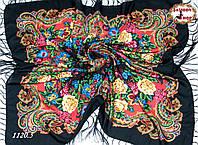 Чёрный павлопосадский шерстяной платок Даниэлла
