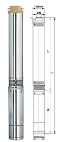 Насос центробежный глубинный Aquatica для скважин 0.18кВт Hmax 30м Qmax 45л/мин Ø80мм (кабель 20м)