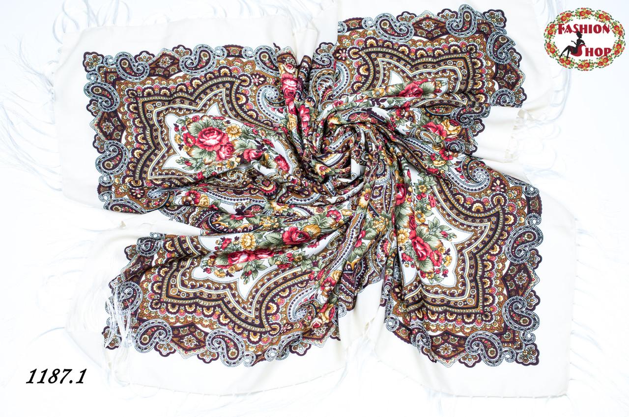 Кремовый павлопосадский шерстяной платок Елизавета