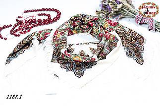 Кремовый павлопосадский шерстяной платок Елизавета, фото 3