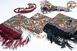 Кремовый павлопосадский шерстяной платок Елизавета, фото 2