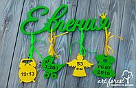 Детская именная метрика из дерева - Евгения