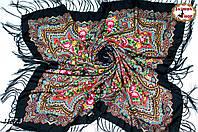 Чёрный павлопосадский шерстяной платок Елизавета