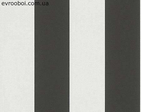 Обои в широкую полоску черно-белого цвета 343213.