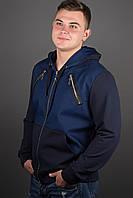 Мужская толстовка на змейке, цвет синий / размерный ряд 48-56