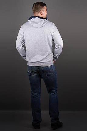 Мужская толстовка на змейке, цвет серый / размерный ряд 48-56, фото 2
