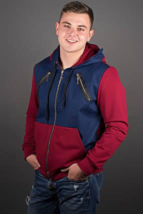 Мужская толстовка на змейке, цвет бордо / размерный ряд 48-56, фото 2