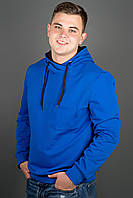 Мужская толстовка однотонная, с большим удобным капюшоном Рунэ, цвет электрик / размерный ряд 48-56