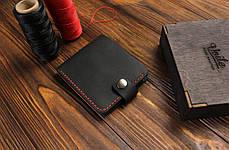 Мужской кожаный кошелек ручной работы VOILE vl-cw1-blk-red, фото 2