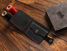 Мужской кожаный кошелек ручной работы VOILE vl-cw1-blk-red, фото 3