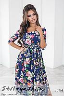 Ретро платье в цветах темно-синее