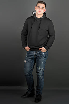 Мужская толстовка однотонная, с большим удобным капюшоном Рунэ, цвет черный / размерный ряд 48-56, фото 2