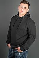 Мужская толстовка однотонная, с большим удобным капюшоном Рунэ, цвет черный / размерный ряд 48-56