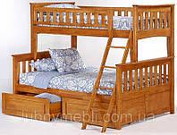 Жасмин двухъярусная трехместная кровать, деревянная