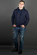 Мужская толстовка однотонная, с большим удобным капюшоном Рунэ, цвет синий / размерный ряд 48-56, фото 2