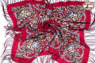 Бордовый павлопосадский шерстяной платок Василиса, фото 2