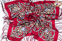 Бордовый павлопосадский шерстяной платок Василиса
