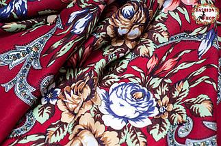 Бордовый павлопосадский шерстяной платок Василиса, фото 3