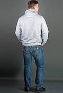 Мужская толстовка однотонная, с большим удобным капюшоном Рунэ, цвет серый / размерный ряд 48-56, фото 2