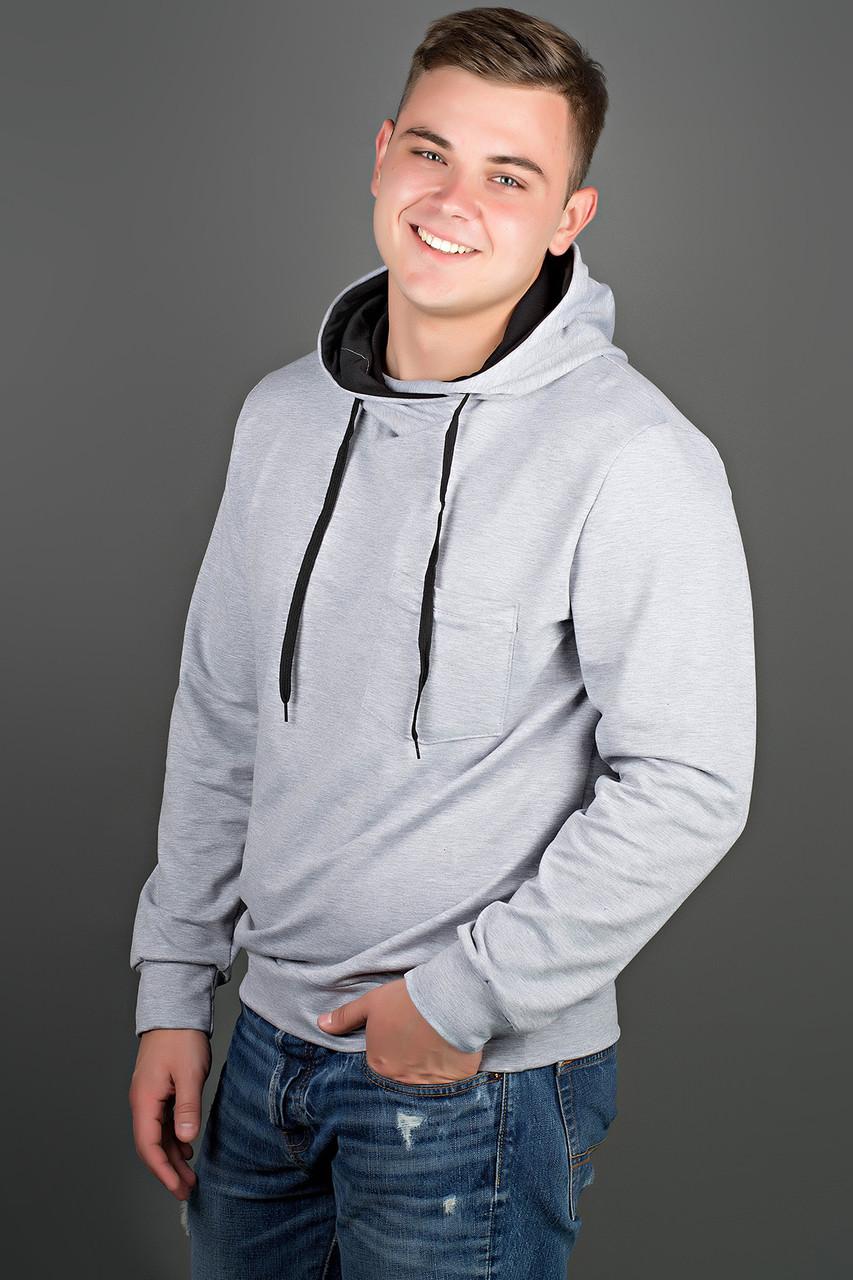 Мужская толстовка однотонная, с большим удобным капюшоном Рунэ, цвет серый / размерный ряд 48-56