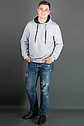 Мужская толстовка однотонная, с большим удобным капюшоном Рунэ, цвет серый / размерный ряд 48-56, фото 3