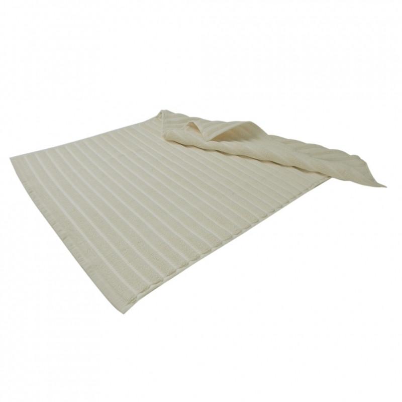 Банный коврик в полоску с антибактериальной защитой Кремовый