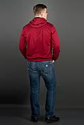 Мужская толстовка однотонная, с большим удобным капюшоном Рунэ, цвет бордо / размерный ряд 48-56, фото 2