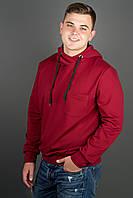 Мужская толстовка однотонная, с большим удобным капюшоном Рунэ, цвет бордо / размерный ряд 48-56