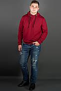 Мужская толстовка однотонная, с большим удобным капюшоном Рунэ, цвет бордо / размерный ряд 48-56, фото 3