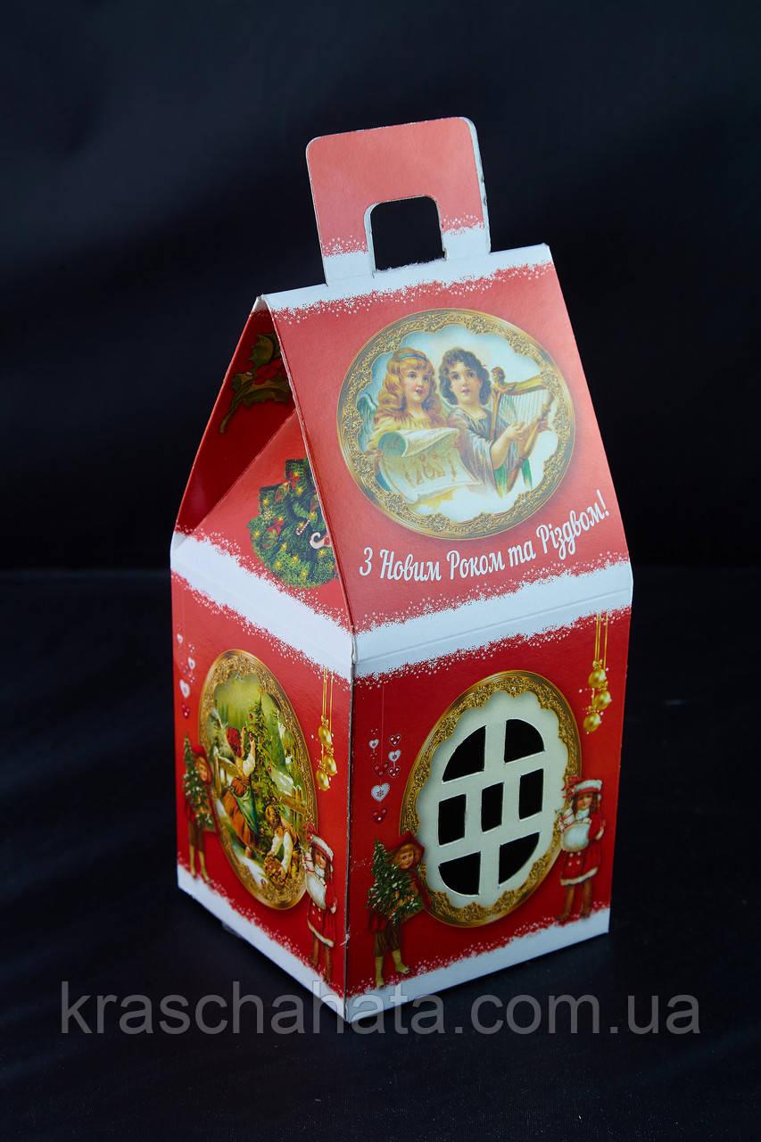 Домик новогодний Ретро, Картонная упаковка для конфет, 9,6х9,6х19,5 см