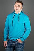 Мужская толстовка однотонная, с большим удобным капюшоном Рунэ, цвет бирюза / размерный ряд 48-56