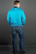 Мужская толстовка однотонная, с большим удобным капюшоном Рунэ, цвет бирюза / размерный ряд 48-56, фото 2