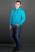 Мужская толстовка однотонная, с большим удобным капюшоном Рунэ, цвет бирюза / размерный ряд 48-56, фото 3