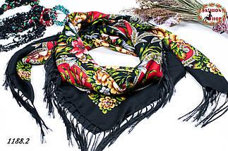 Чёрный павлопосадский шерстяной платок Василиса, фото 3