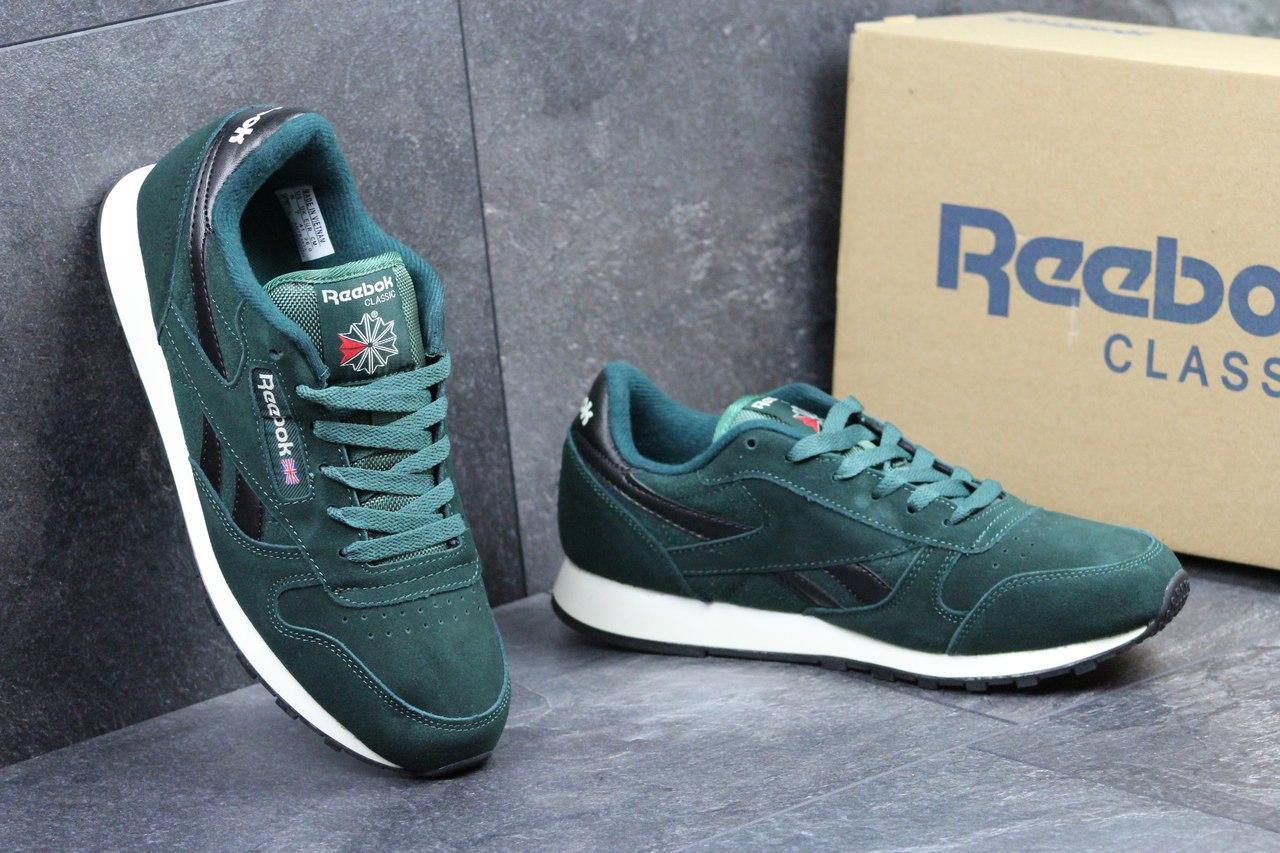 Чоловічі замшеві кросівки Reebok Classic темно-зелені 7ccb21ac8dc85
