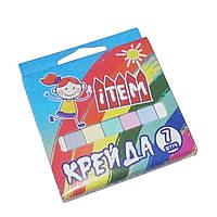 Мел канцелярский цветной школьный 7шт 12х12х75мм картонная коробочка