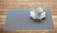 Салфетка-подложка под тарелки чорно-белое плетение 30см*45см