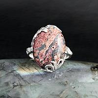 Яшма леопардовая, серебро 925, кольцо, 612КЯ